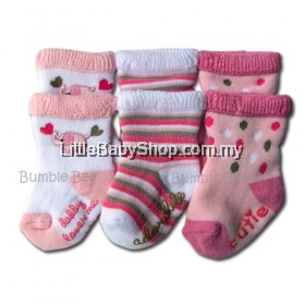 Bumble Bee: Socks: Pink Elephant Terry Socks 3 Pairs