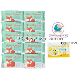 K-Mom: Natural Pureness Premium Baby Wet Wipes Embo 20pcs X 10 Packs (Free 10pcs)