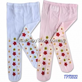 Bumble Bee Spring Flower Tights  White