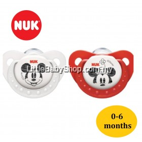 Nuk MICKEY Sleeptime Silicone Orthodontic Soother Red/White (0-6m) 2pcs