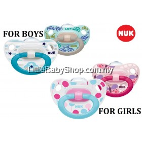 Nuk Printed Silicone Soother for Girls (S1 0-6m / S2 6-18m) 2pcs