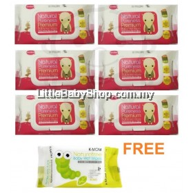 K-Mom Natural Pureness Premium Wet Wipes (80sx6) Free 30 pcs