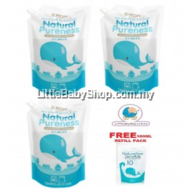 K-Mom Nature Pureness Baby Laundry Detergent Refill Pack (1300ml x3) Free 100ml Refill