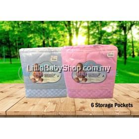 BABYLOVE Deluxe Baby Cot Organizer (6 Storage Pocket) - Blue / Pink