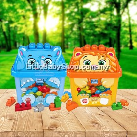 FISHER PRICE Mega Bloks Build N' Learn Animal Bucket (Jolly Elephant / Laughing Lion) 25pcs - 1 Year +